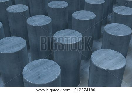 Plain Blue Wooden Surface With Cylinders