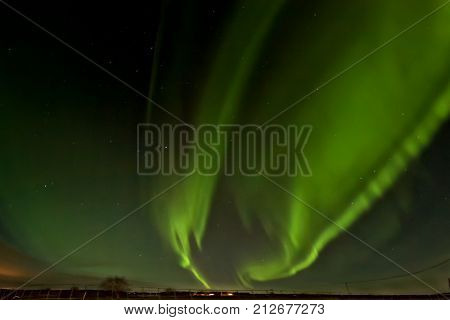 The Aurora Borealis showed up on an early winter night with glorious flames at the Northern Finland.