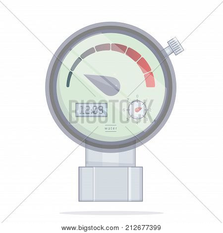 Pressure sensor manometer. Tools vector icon. On factory pipeline or home. Realistic illustration in a cartoon style.