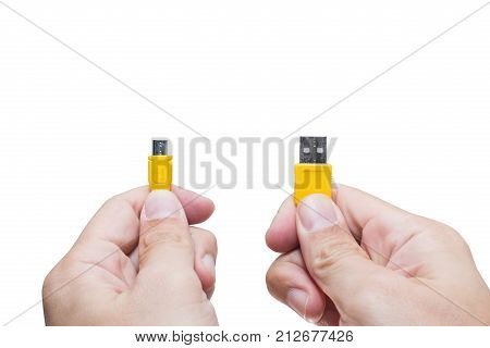 Compare Usb Head With Hand Hold Isolated On White