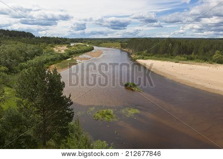 View of the river Vaga near the village Undercity, Velsky district, Arkhangelsk region, Russia