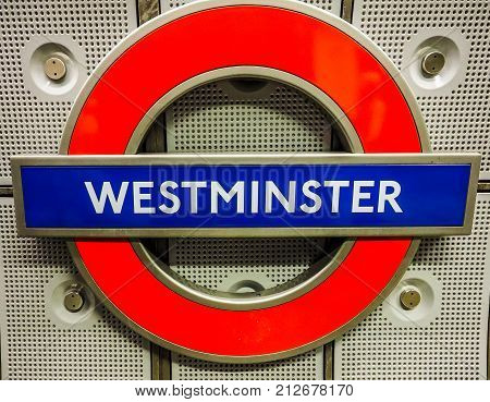 Westminster Tube Station Roundel In London, Hdr