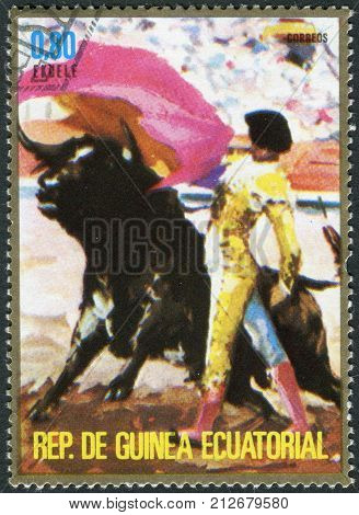 EQUATORIAL GUINEA - CIRCA 1975: A stamp printed in the Equatorial Guinea shows the Corrida circa 1975