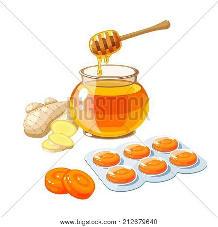 Cough drops. Sore throat remedy package of orange lozenges ginger and honey. Vector illustration cartoon flat icon isolated on white.