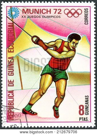EQUATORIAL GUINEA - CIRCA 1972: A stamp printed in Equatorial Guinea devoted to Summer Olympics Games in 1972 Munich shows the Hammer Throw circa 1972