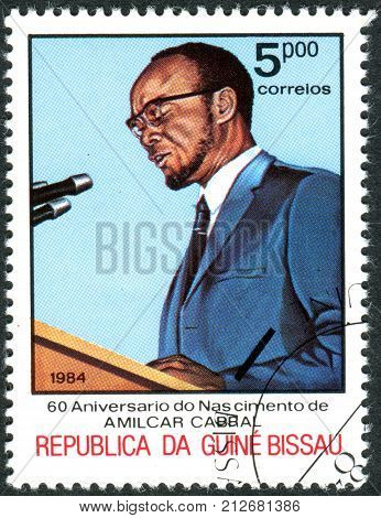 GUINEA - BISSAU - CIRCA 1984: A stamp printed in Guinea-Bissau dedicated to 60th Anniversary of Birth Amilcar Cabral shows the Public speaking circa 1984