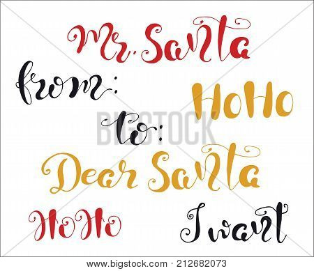 Merry Christmas quote lettering  Dear Santa, Ho ho, I want Typography designs Vector logo, emblem, phrase. Usable for banners, greeting cards, gifts