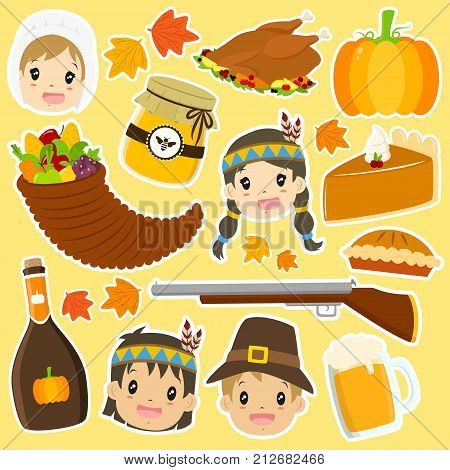 Thanksgiving Pilgrim and Native American characters and items sticker set. Thanksgiving cartoon vector collection