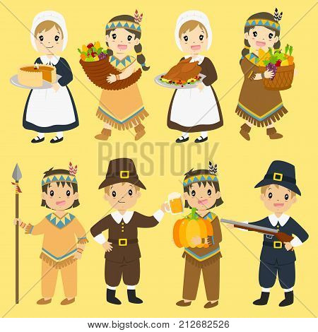 Thanksgiving Native American and Pilgrim characters illustration set.