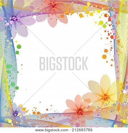 Abstract colorful frame with twisty line and floral summer background