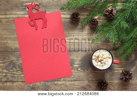 Christmas Composition With Red Cup And Empty Red Blank Letter For Santa Or Your Wishlist Or Advent A