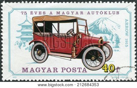 HUNGARY - CIRCA 1975: Postage stamp printed in Hungary dedicated to the 75th anniversary of the Hungarian Automobile Club shows a car Arrow 1915 circa 1975