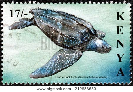 KENYA - CIRCA 2000: A stamp printed in Kenya shows the leatherback sea turtle (Dermochelys coriacea) circa 2000