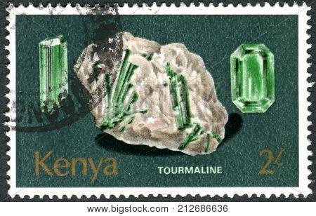 KENYA - CIRCA 1977: A stamp printed in Kenya shows a crystalline mineral Tourmaline circa 1977