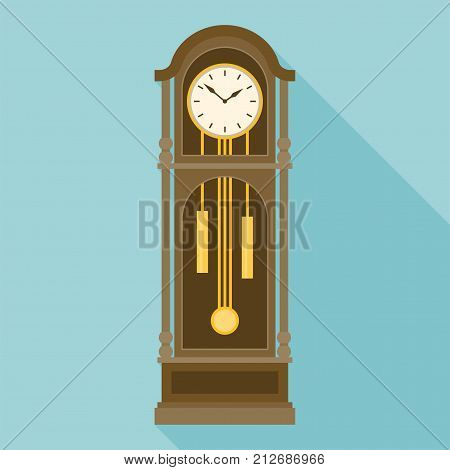 antique grandfather pendulum clock vector in flat design with long shadow