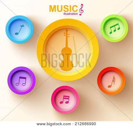 Web music design concept with colorful round buttons violin and musical notes on light background vector illustration