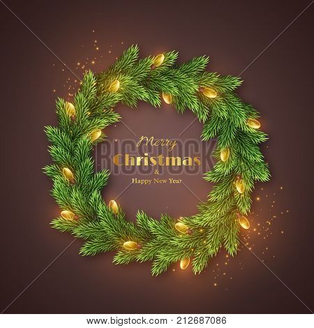 Christmas wreath with realistic glossy garland glowing lights. Golden Merry Christmas and happy new year text holiday background. Vector illustration.