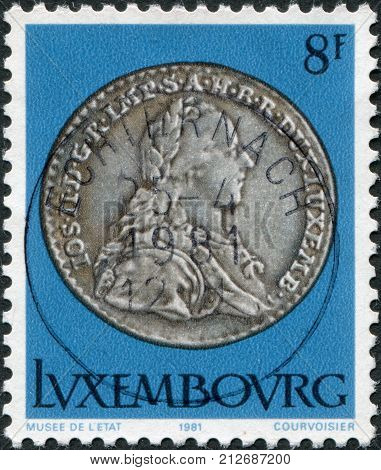 LUXEMBOURG - CIRCA 1981: A stamp printed in Luxembourg shows Emperor Joseph II 12 sol 1789 circa 1981