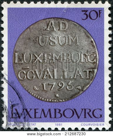 LUXEMBOURG - CIRCA 1981: A stamp printed in Luxembourg shows Emperor Francois II 72 sol 1795 circa 1981