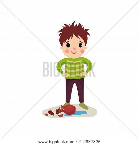 Boy with crazy hair standing with arms akimbo over broken vase and smiling. Cartoon character of naughty kid with bad behavior. Trouble child. Flat vector illustration isolated on white background.