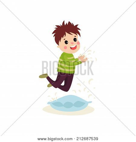 Little naughty boy jumping on the pillow, feathers flying around him. Cartoon character of mischievous child. Bad kid behavior concept. Vector illustration in flat style isolated on white background.