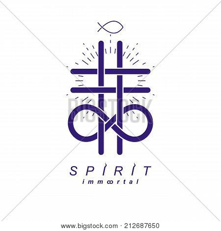 Immortal God conceptual logo design combined with infinity loop sign and Christian Cross vector creative symbol.