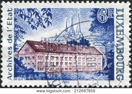 LUXEMBOURG - CIRCA 1980: A stamp printed in Luxembourg shows State Archives Building circa 1980