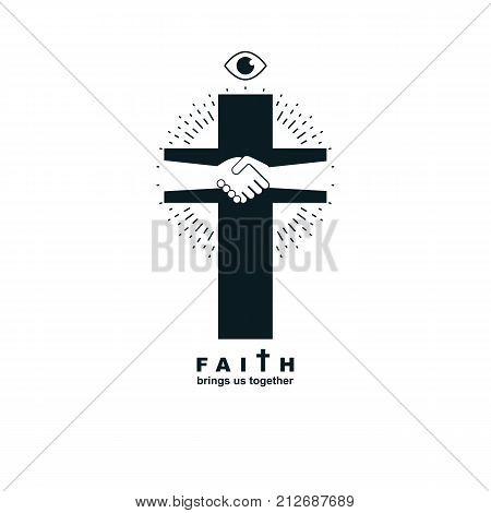 Christianity Cross true belief in Jesus vector symbol Christian religion icon. Faith and Religion brings people together.