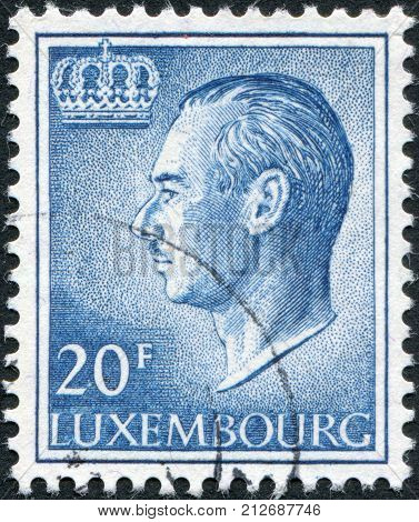 LUXEMBOURG - CIRCA 1975: A stamp printed in Luxembourg shows Grand Duke Jean of Luxembourg circa 1975