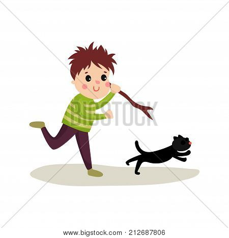 Rude boy running after cat with stick in his hand. Evil child. Teenage bully demonstrating mischievous uncontrollable behavior. Cartoon bad kid character. Flat vector illustration isolated on white.