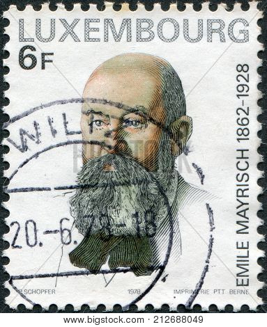 LUXEMBOURG - CIRCA 1978: A stamp printed in Luxembourg shows Emile Mayrish by Theo Van Rysselberghe circa 1978