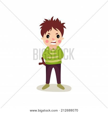 Illustration of aggressive schoolboy with angry face standing with slingshot in his back pocket. Flat cartoon character of restless child. Bad kid behavior concept. Vector isolated on white background