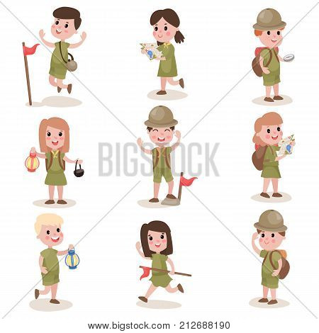Cheerful scout kids set. Summer camp activities. Funny cartoon characters of boys and girls in khaki uniform with hiking equipment. Scouting concept. Flat vector illustration isolated on white.