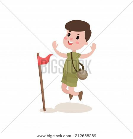 Cheerful boy scout jumping with hands up near red flag. Cartoon character of little kid in camping outfit. Children s active recreation. Scouting concept. Flat vector illustration isolated on white.