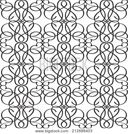 Abstract elegant monochrome seamless pattern with repeating interweaving structure in minimalistic style vector illustration