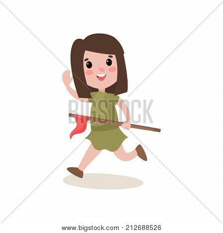 Cheerful scout girl running, waving her hand and holding red flag. Kids activity in summer camp. Colorful cartoon character in flat style. Scouting concept. Vector illustration isolated on white.