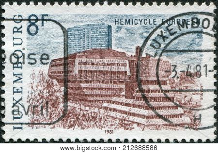 LUXEMBOURG - CIRCA 1981: A stamp printed in Luxembourg represented European Hemicycle Kirchberg circa 1981