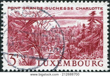 LUXEMBOURG - CIRCA 1966: A stamp printed in Luxembourg shows Grand Duchess Charlotte Bridge circa 1966