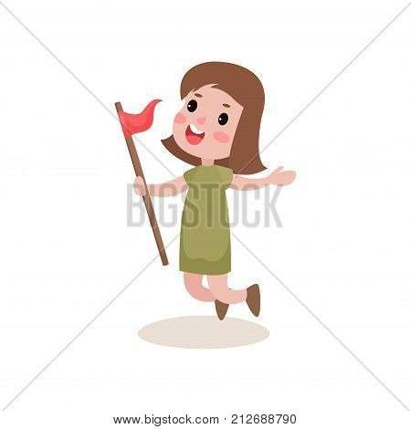 Joyful kid jumping with red flag in hand. Cartoon girl scout character in khaki costume. Sport relay race activities concept. Flat design vector illustration isolated on white background.