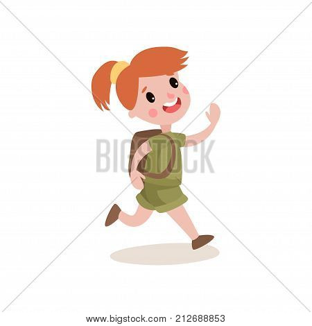 Red-haired girl scout running with cheerful face expression. Kid cartoon character dressed in khaki uniform, backpack on her back. Summer camp and leisure activities. Flat design vector illustration.