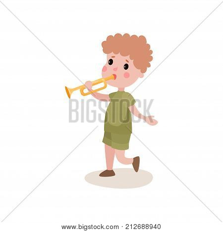 Boy scout character in khaki camping uniform, walking and playing on trumpet. Scouting concept. Children s active recreation. Flat design vector illustration isolated on white background.
