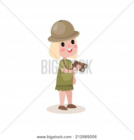 Little girl scout character holding binoculars in hands. Dressed in khaki skirt, t-shirt and hat. Scouting and terrain orientation concept. Cartoon flat design vector illustration isolated on white.