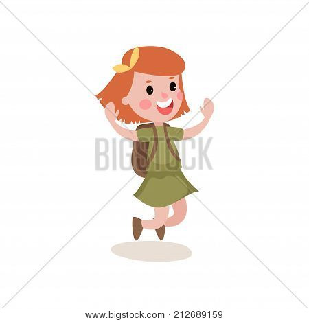 Joyful little kid jumping with hands up isolated on white background. Cartoon character of cute red-haired girl scout in khaki costume and backpack on her back. Flat design vector illustration.