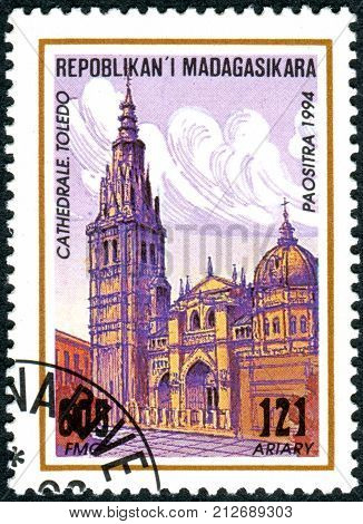 MADAGASCAR - CIRCA 1994: A stamp printed in Madagascar shows the building Toledo Cathedral (Primate Cathedral of Saint Mary of Toledo) circa 1994