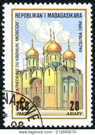 MADAGASCAR - CIRCA 1994: A stamp printed in Madagascar shows the building Dormition Cathedral Moscow circa 1994