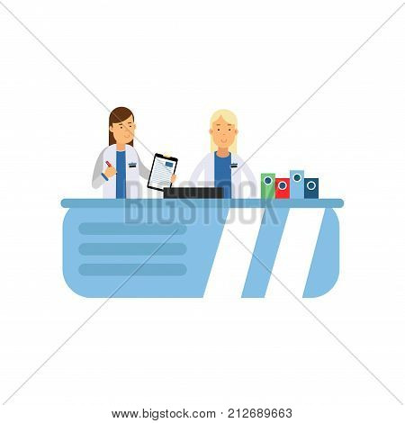Female doctor with paper tablet and pen in hands. Nurse working at hospital reception desk. Cartoon characters of medical workers in white uniform. Hospital concept. Isolated flat vector illustration.