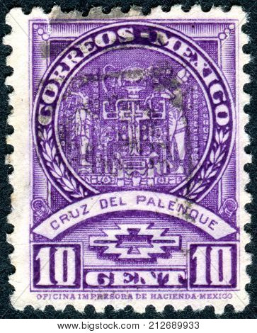 MEXICO - CIRCA 1934: Postage stamp printed in Mexico shows the Cross of Palenque Stucco from Temple of the Foliated Cross the Maya era circa 1934