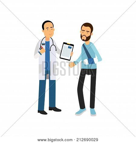 Bearded man with broken arm visiting traumatologist cabinet in hospital. Cartoon doctor and patient characters in modern flat style. Medical service concept. Vector illustration isolated on white.