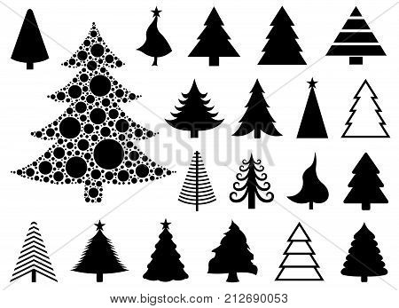 Set of different Christmas trees isolated on white