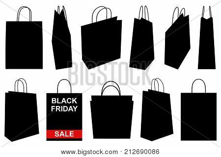 Set of different shopping bags isolated on white